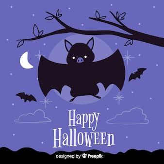 Fundo de morcego halloween em design plano