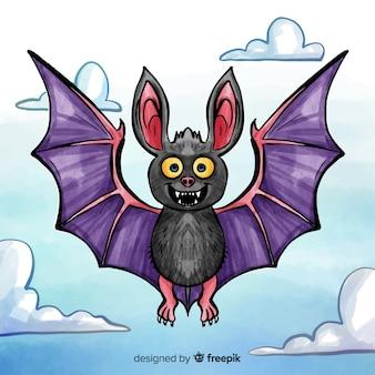 Fundo de morcego halloween na mão desenhada estilo