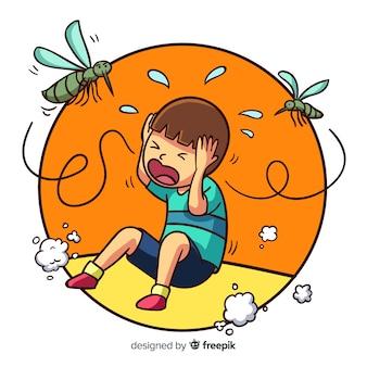 Fundo de mordida de mosquito dos desenhos animados