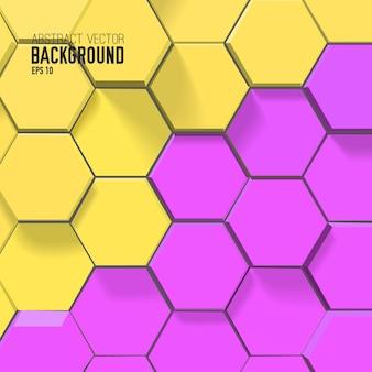 Fundo de mosaico abstrato com hexágonos coloridos conectados