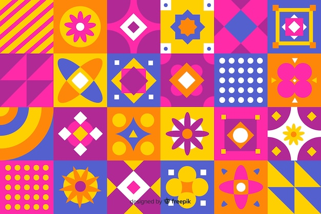 Fundo de mosaico colorido formas geométricas