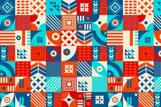 Fundo de mosaico de forma geométrica colorida