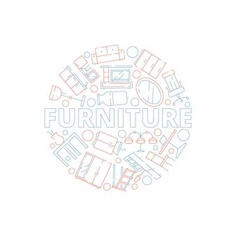 Fundo de móveis. ferramentas interiores em círculo forma sofá cadeira mesa cama casa