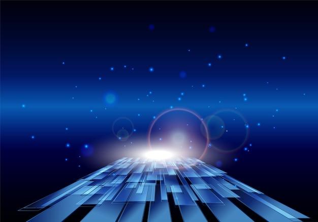 Fundo de movimento brilhante de alta tecnologia azul.