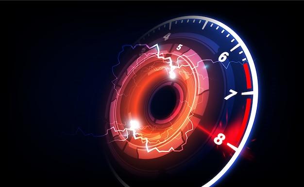 Fundo de movimento de velocidade com carro velocímetro rápido
