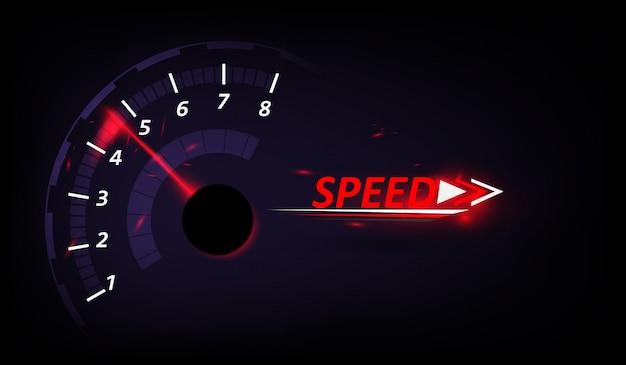 Fundo de movimento de velocidade com velocidade de corrida de carro rápido velocímetro