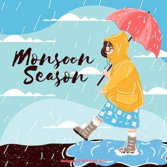 Fundo de mulher com capa de chuva e guarda-chuva