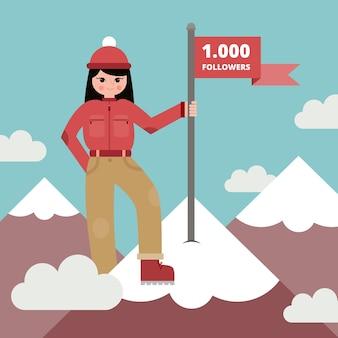Fundo de mulher com uma bandeira em cima da montanha em design plano