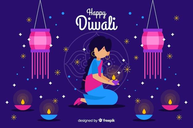 Fundo de mulher festiva de diwali com velas