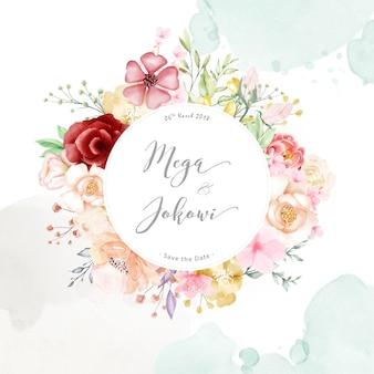 Fundo de multiusos de quadro floral aquarela