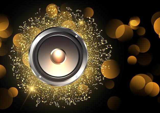 Fundo de música com alto-falante e notas musicais