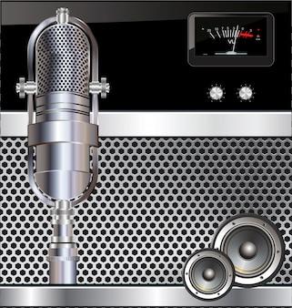 Fundo de música com microfone antigo