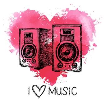 Fundo de música com respingo de coração em aquarela e alto-falantes de esboço. ilustração desenhada à mão