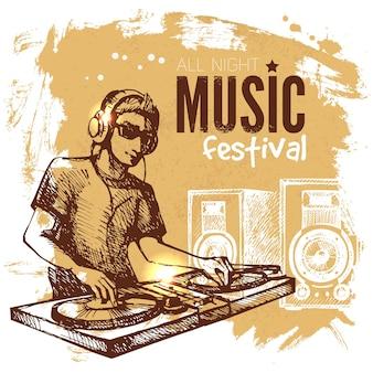 Fundo de música vintage. design retro do blob do respingo. cartaz do festival de música. ilustração em vetor desenho desenhado à mão