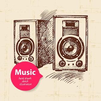Fundo de música vintage. ilustração de esboço desenhado à mão