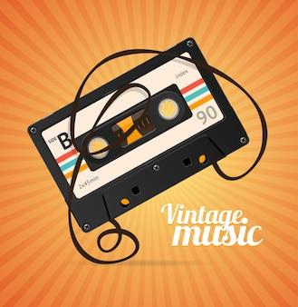 Fundo de música vintage sobre laranja
