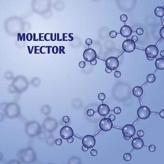 Fundo de nanotecnologia química com moléculas de macro 3d. substância de estrutura molecular
