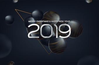 Fundo de Natal 2019 com bola de Natal