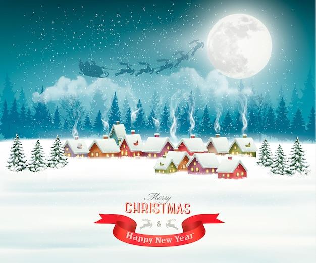 Fundo de natal à noite na vila de inverno