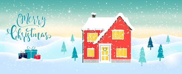 Fundo de natal abstrato em azul claro com letras da casa de inverno e flocos de neve cintilantes brancos