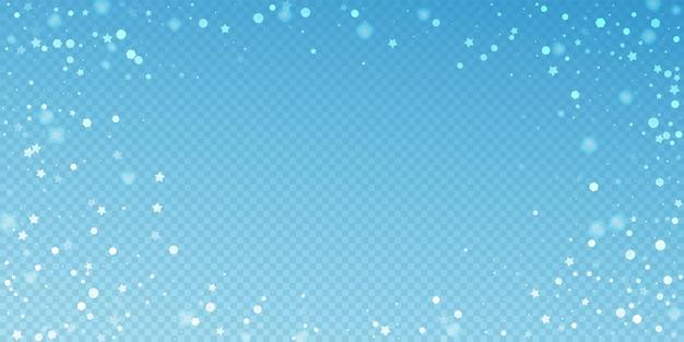 Fundo de natal aleatório de estrelas mágicas. flocos de neve voando sutis e estrelas sobre fundo azul transparente. encantador modelo de sobreposição de floco de neve de prata de inverno. ilustração em vetor admirável.