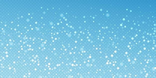 Fundo de natal aleatório de estrelas mágicas. flocos de neve voando sutis e estrelas sobre fundo azul transparente. modelo de sobreposição de floco de neve de prata lindo inverno. ilustração encantadora do vetor.