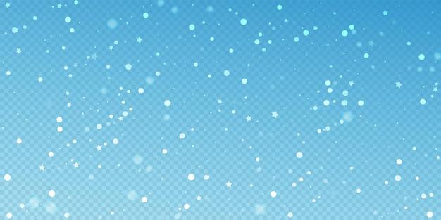 Fundo de natal aleatório de estrelas mágicas. flocos de neve voando sutis e estrelas sobre fundo azul transparente. modelo de sobreposição de floco de neve prateado de inverno autêntico. ilustração vetorial digna.