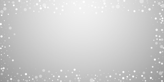 Fundo de natal aleatório de estrelas mágicas. flocos de neve voando sutis e estrelas sobre fundo cinza claro. modelo de sobreposição de floco de neve prata incrível inverno. ilustração vetorial notável.