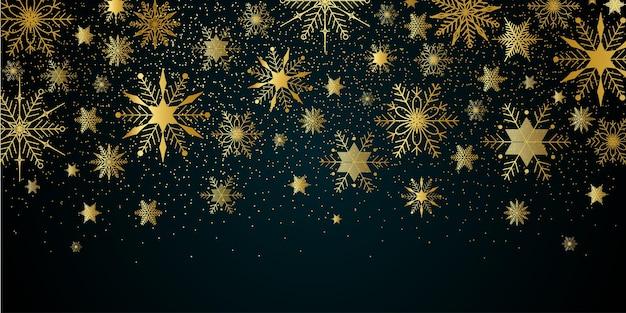 Fundo de natal ano novo com flocos de neve dourados e fundo festivo de inverno