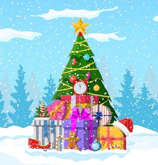 Fundo de natal. árvore de natal com guirlandas e bolas, caixas de presente.