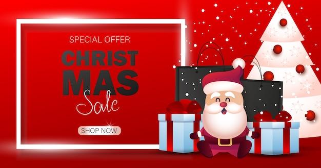 Fundo de natal. banner de venda de feliz natal