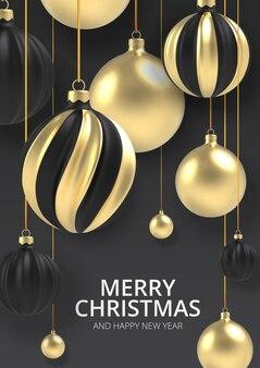 Fundo de natal bola de natal dourada em estilo realista em fundo preto.