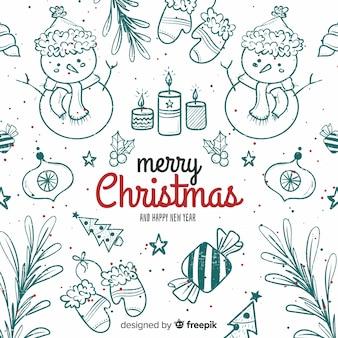 Fundo de natal bonito na mão desenhada estilo