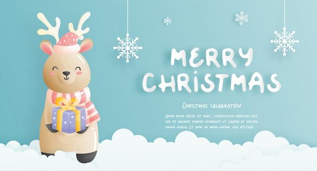 Fundo de natal, celebrações com renas fofas segurando uma caixa de presente e uma cena de natal