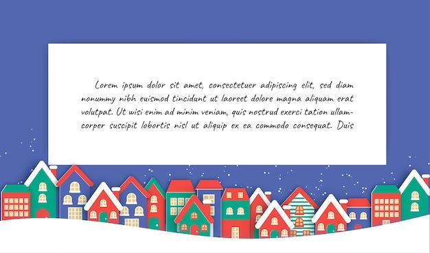 Fundo de natal com a aldeia de neve e espaço ou texto. Vetor Premium