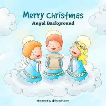 Fundo de natal com anjos cantando uma canção de natal