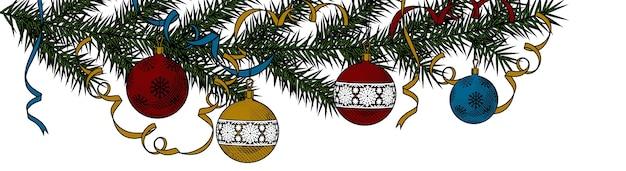 Fundo de natal com árvore de natal com fitas
