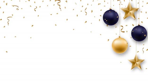 Fundo de natal com bolas brilhantes e confetes.