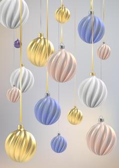 Fundo de natal com bolas de natal de nácar rosa, ouro e azul, bolas em espiral sobre um fundo vertical de cor.