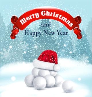 Fundo de natal com bolas de neve, fita vermelha e chapéu vermelho de papai noel