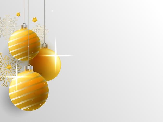 Fundo de natal com bolas douradas