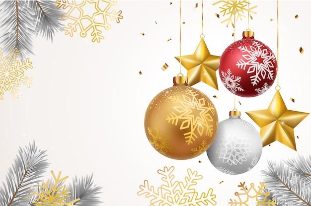 Fundo de natal com bolas vermelhas e douradas e pinheiro