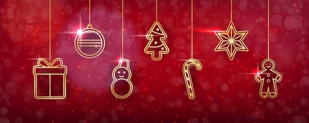 Fundo de natal com brinquedos de ouro brilhantes.