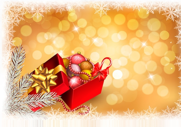 Fundo de natal com caixa de presente aberta e presentes