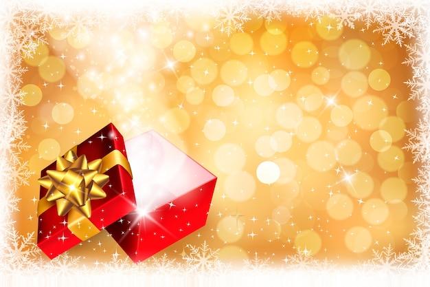 Fundo de natal com caixa de presente aberta