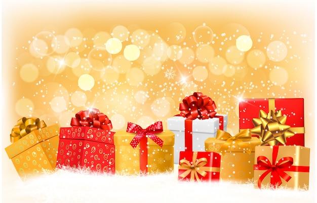 Fundo de natal com caixas de presente e flocos de neve.