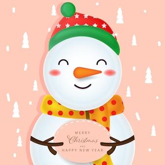 Fundo de natal com caráter de homem de neve
