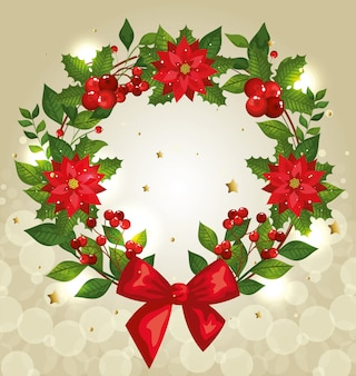 Fundo de natal com coroa de flores e decoração