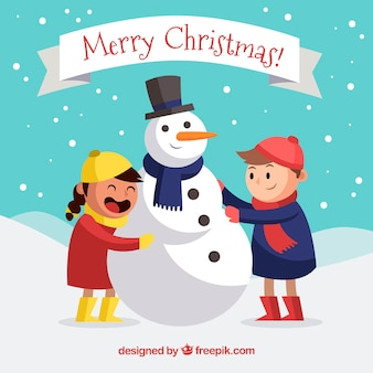 Fundo de natal com crianças e homem da neve