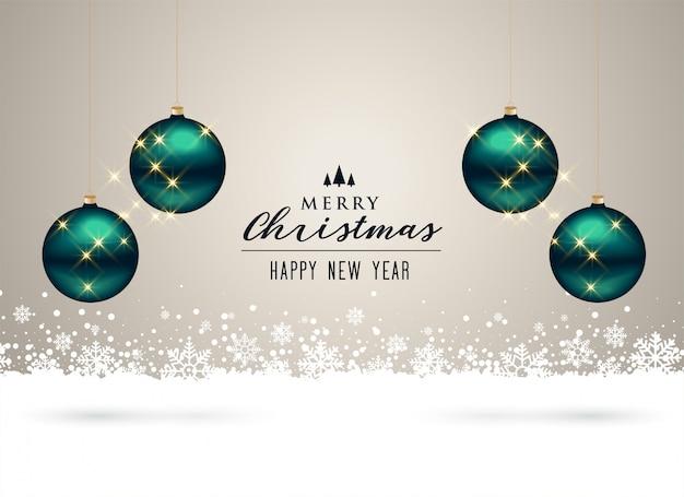 Fundo de natal com decoração de bolas e flocos de neve